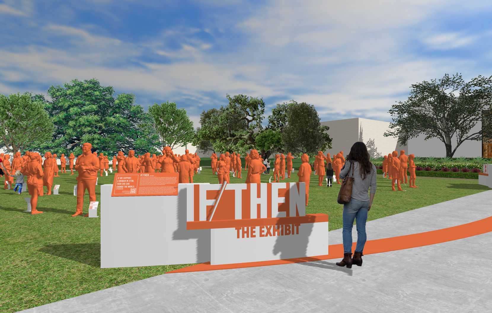 Statues of women are depicted in a rendering of a planned May 1 exhibition at NorthPark Center from the If/Then Initiative. It will be the largest collection of statues of women ever assembled in one location at one time, according to the organizers of the project.