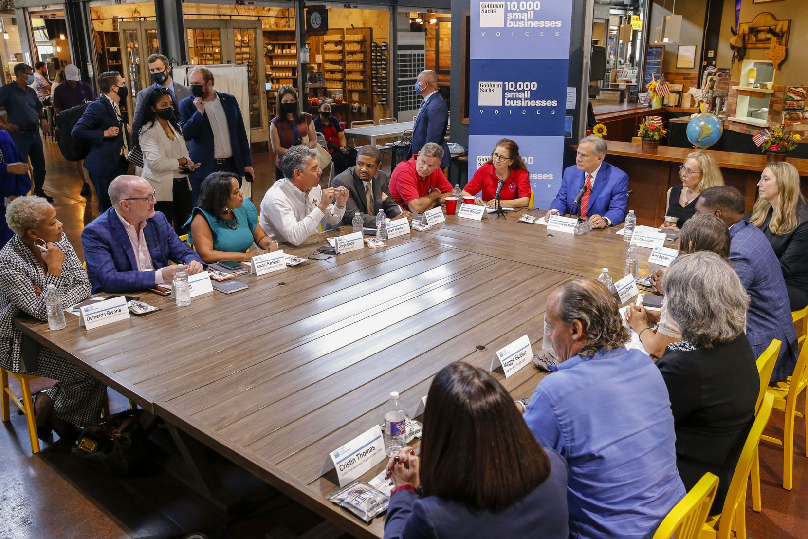 Gov. Greg Abbott hears small business owners describe how labor shortages limit their recovery.