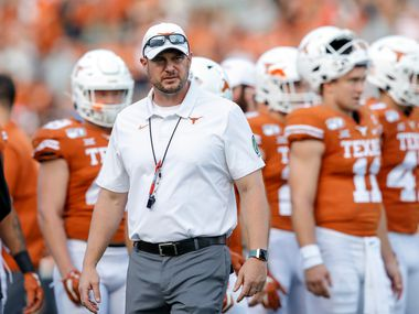 AUSTIN, TX - SEPTEMBER 21:  Head coach Tom Herman of the Texas Longhorns watches players warm up before the game against the Oklahoma State Cowboys at Darrell K Royal-Texas Memorial Stadium on September 21, 2019 in Austin, Texas.  (Photo by Tim Warner/Getty Images)