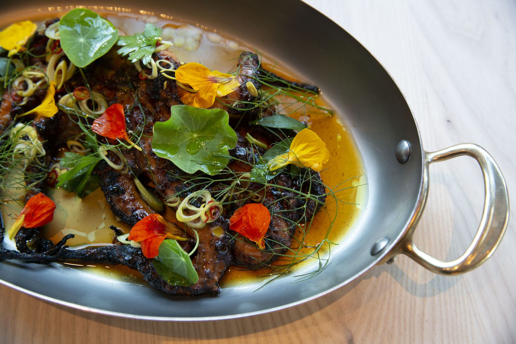 The grilled octopus is shown at the new restaurant, Meridian, in The Village area of Dallas