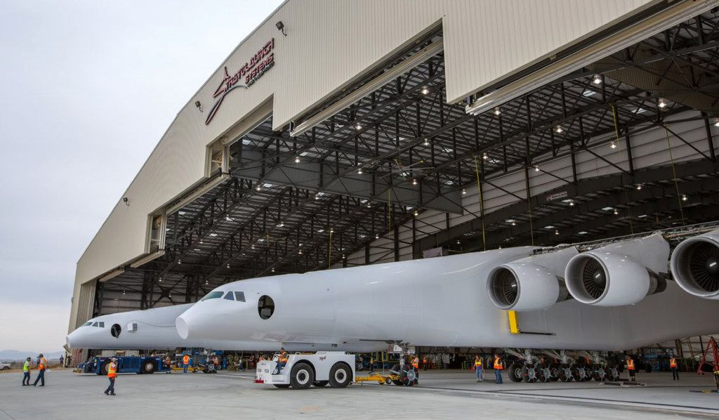 The aircraft will undergo ground tests in preparation for flights in which the aircraft will launch rockets from high altitude. (Stratolaunch Systems Corp. via AP)