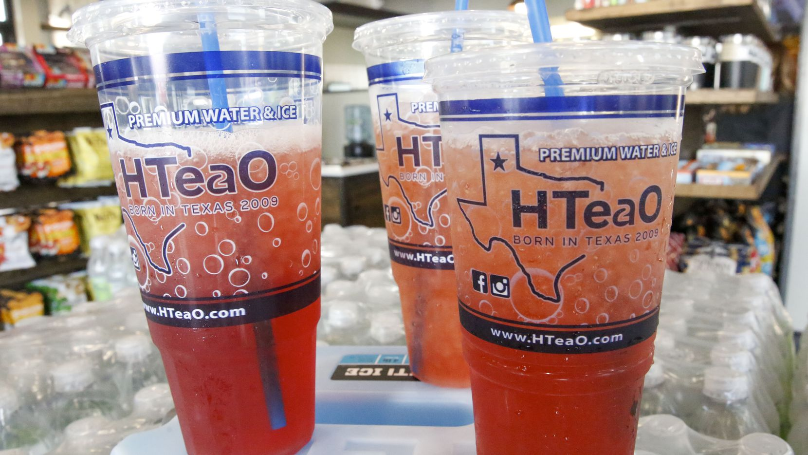Iced tea in cups offered at the new iced tea business called HTEAO in Carrollton.