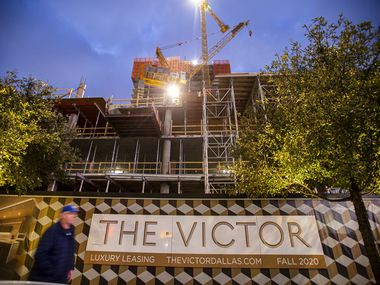 The 39-story Victor apartment tower under construction in the Victory Park is one of more than a half dozen high-rise rental projects in the downtown area.