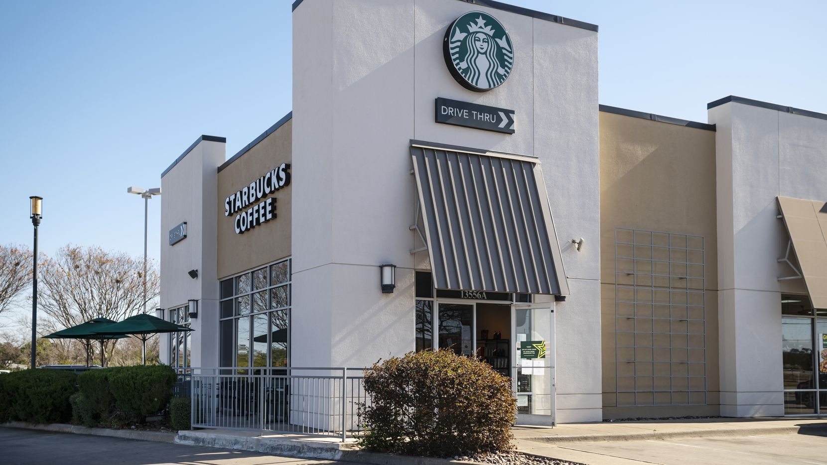 The Starbucks location at Preston Road and Alpha Road in Dallas, on Jan. 14, 2021. Starbucks locations are changing their hours due to lack of employees as some have been quarantined for COVID-19.