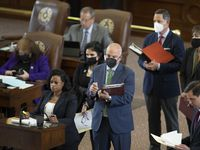 State Rep. NICOLE COLLIER, D-Fort Worth, speaks at the back mic while other representatives wait as the Texas House considers HB1 the redistricting bill during a special session of the 87th Legislature.