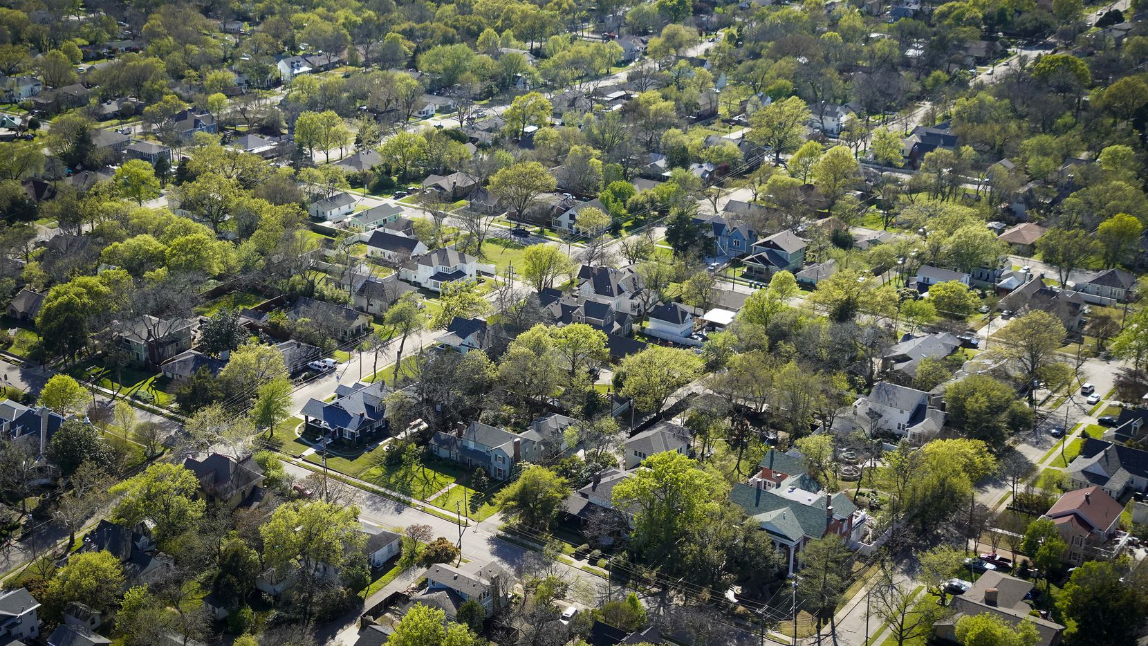 Aerial view of residential neighborhood near downtown McKinney, Texas on Tuesday, March 24, 2020.