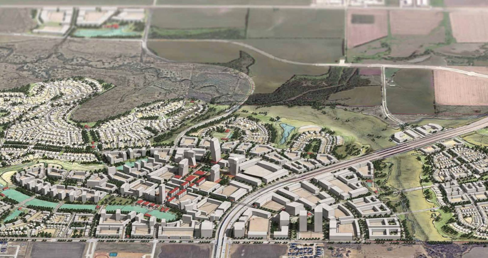 """The Fields development will have a mixed-use """"city center"""" on both sides of the Dallas North Tollway."""