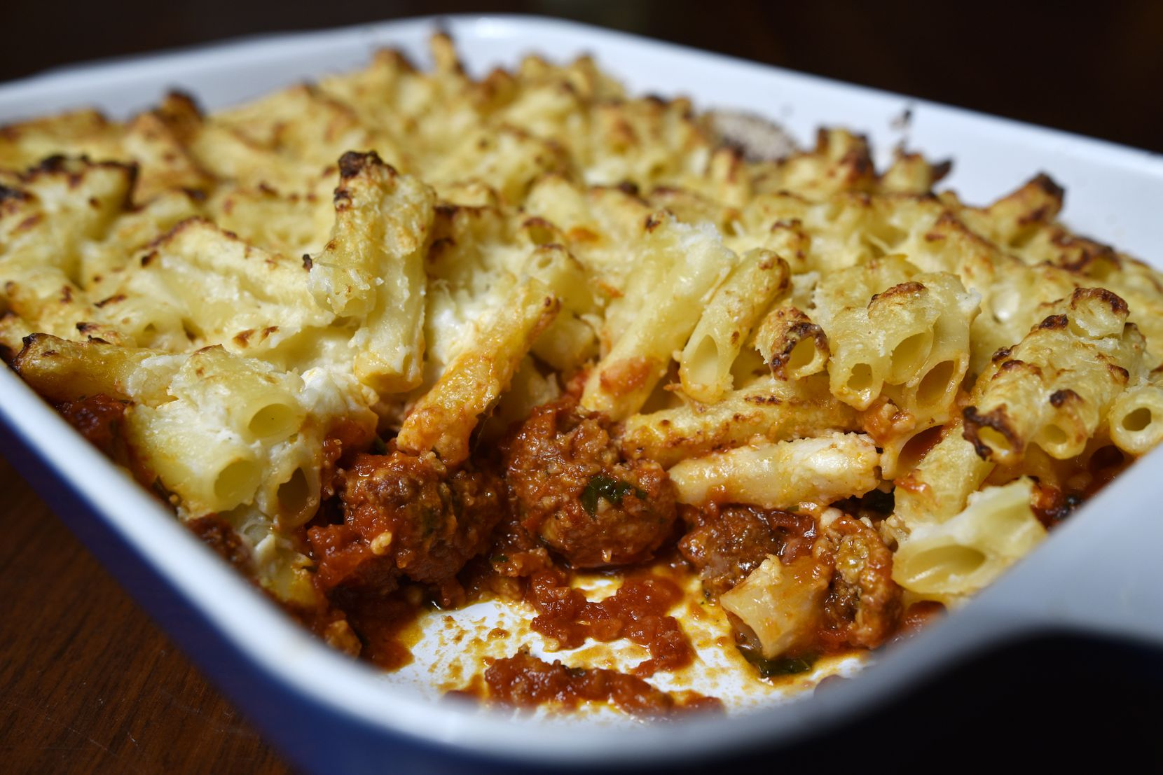 Baked Ziti with Meatballs from Nonna Italian restaurant in Dallas
