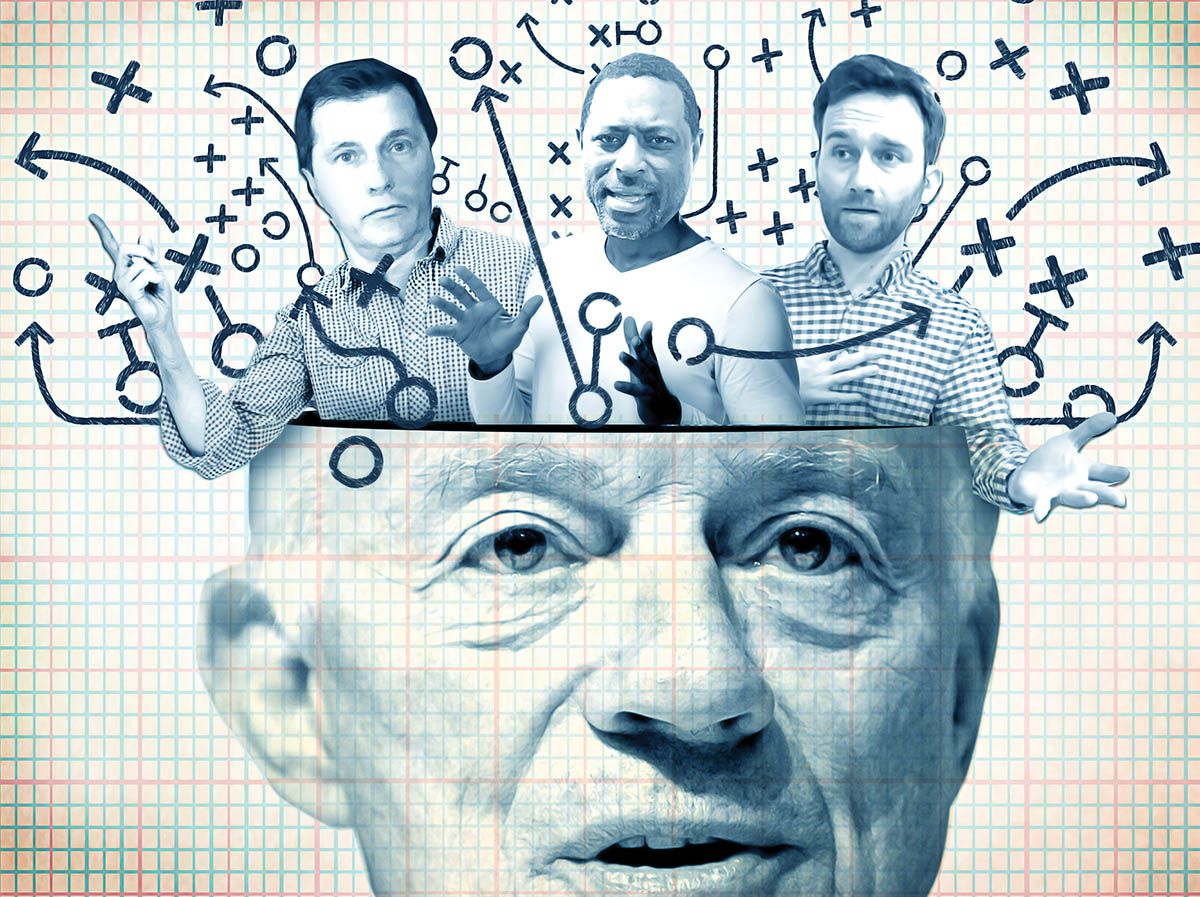 SportsDay's David Moore, Calvin Watkins and Michael Gehlken climb inside the mind of Cowboys owner Jerry Jones in this custom illustration.