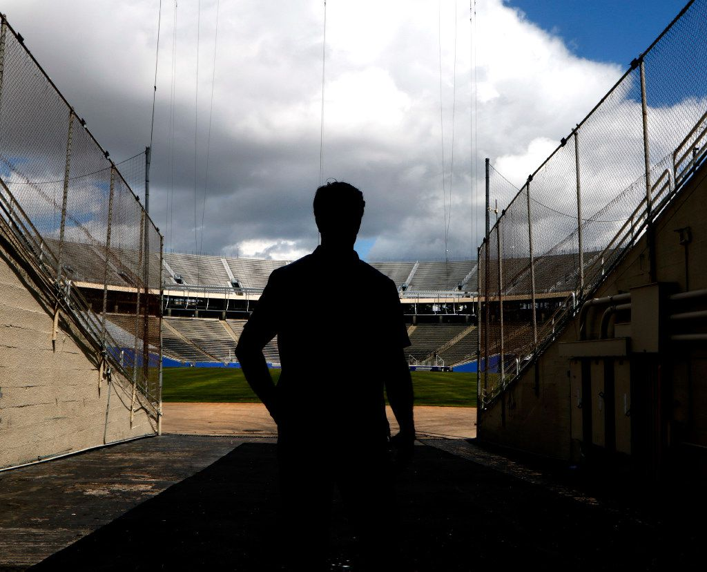 Michael Meredith, an American independent film director, screenwriter and producer, son of Cowboys great Don Meredith, poses for a portrait at the Cotton Bowl in Fair Park in Dallas on Tuesday, June 13, 2017. Michael is working on a documentary about the 1960s Cowboys when his Dad played quarterback. (David Woo/The Dallas Morning News)