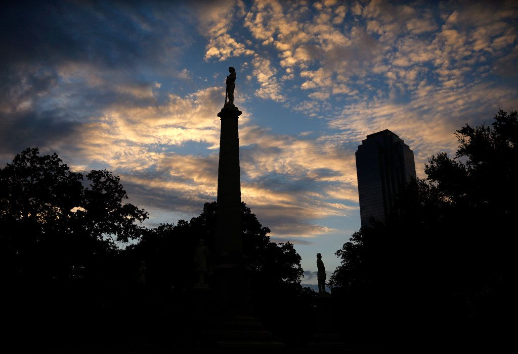 The Confederate War Memorial in Pioneer Park cemetery is seen at sunset in downtown Dallas, Wednesday, August 23, 2017.
