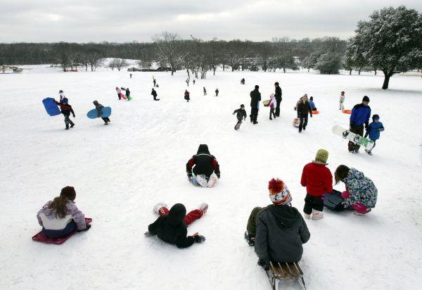 En 2011 cayó tanta nieva que hubo como deslizarse en la nieve en Flagpole Hill.