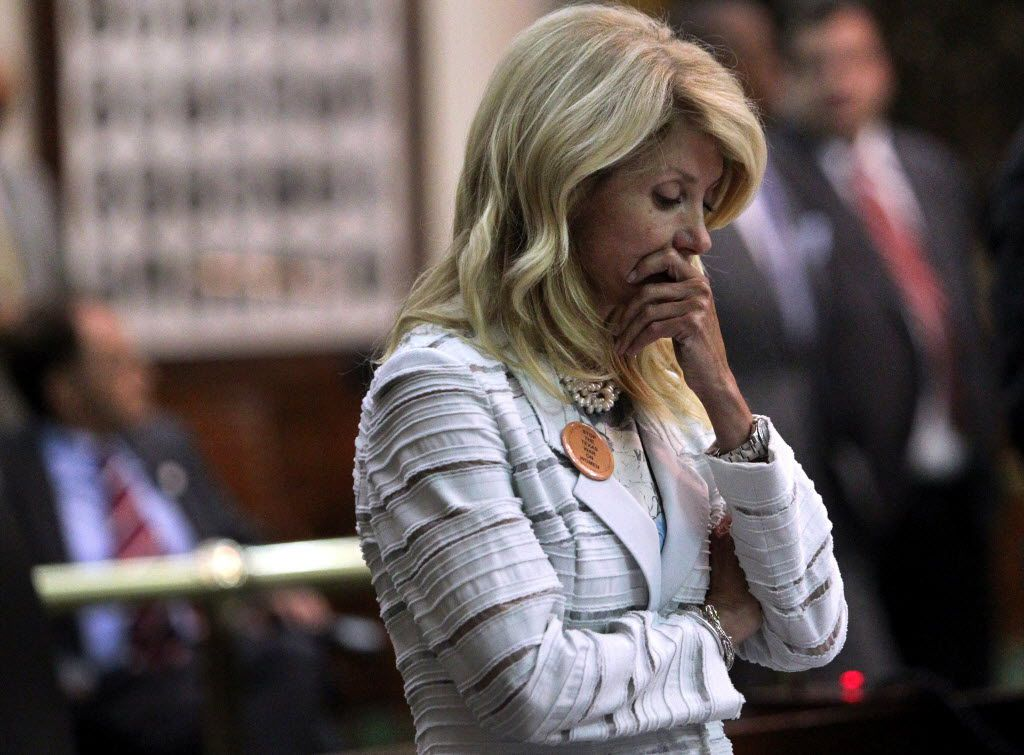 Davis reacted after a third point of order halted her filibuster.