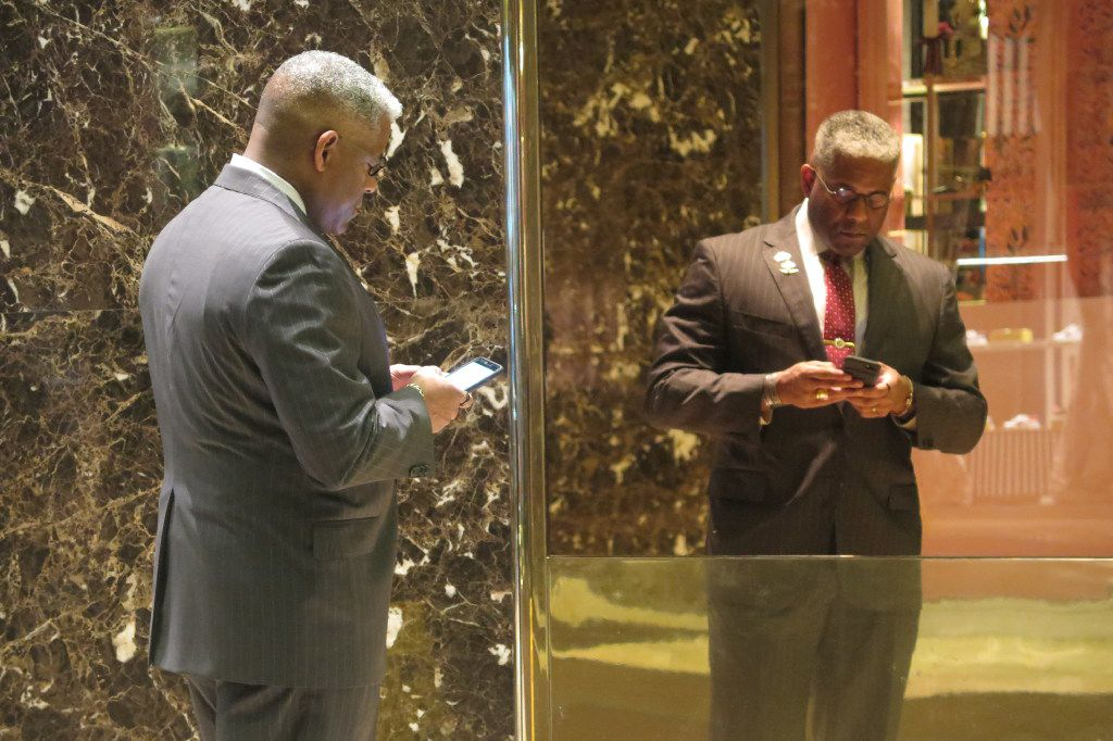 Retired Lt. Col. Allen West, executive director of the Dallas-based National Center for Policy Analysis and a former congressman, waits for an elevator at Trump Tower on Monday.