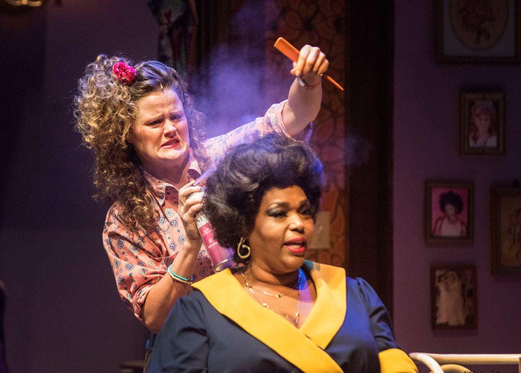 Annelle Dupuy-Desoto (Ana Hagedorn) puts hairspray on Truvy Jones (Liz Mikel).