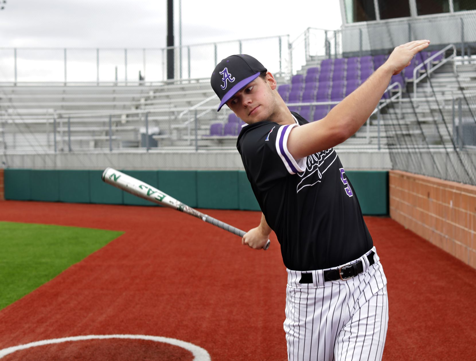 Rawley Hector warms up to bat at Anna High School in Anna, TX, on May 4, 2021. (Jason Janik/Special Contributor)