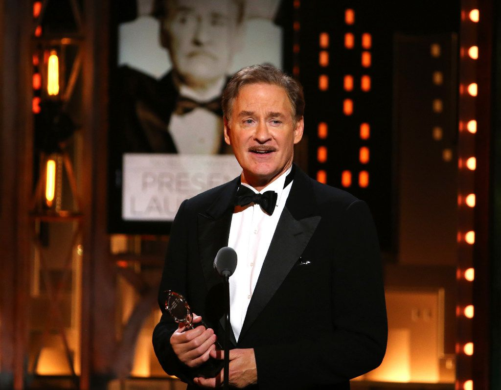 """Kevin Kline accepts the award for best performance by an actor in a leading role in a play for """"Present Laughter"""" at the 71st annual Tony Awards on Sunday, June 11, 2017, in New York. (Photo by Michael Zorn/Invision/AP)"""