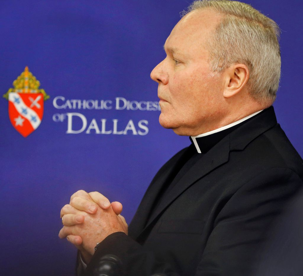 "Dallas Bishop Edward J. Burns announces  that he has hired a team of investigators, including FBI  agents, to do a ""hard scrub"" of active priests serving in the diocese, during a news conference at the Catholic Diocese of Texas offices in Dallas on Wednesday."
