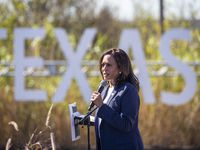 Democratic Party vice presidential nominee Kamala Harris speaks during a campaign event held in the field behind First Saint John Cathedral in Fort Worth, Texas, on Friday, Oct. 30, 2020. Harris' visit to Fort Worth is one of a three-stop Texas tour, which includes Houston and McAllen, leading up to the general election on Tuesday. (Lynda M. González/The Dallas Morning News)