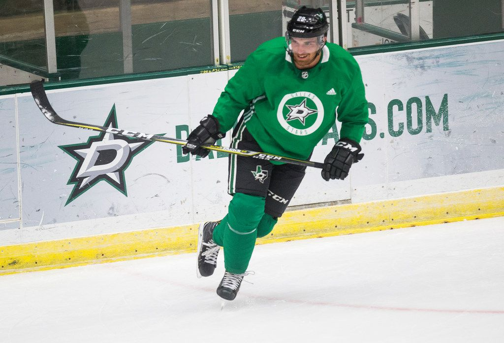 Stephen Johns participates in a drill during Dallas Stars prospect camp on Tuesday, June 25, 2019 at Comerica Center in Frisco, Texas.