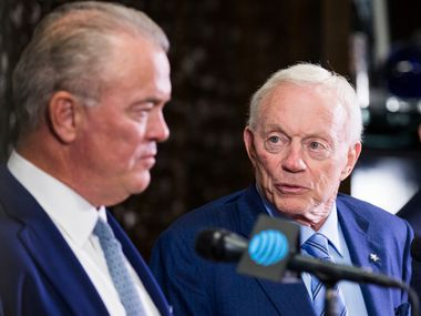 Dallas Cowboys Owner Jerry Jones, center, CEO and Executive Vice President Stephen Jones, left, and Head Coach Jason Garrett, right, speak at a press conference after making their first round pick on Thursday, April 26, 2018 at The Star in Frisco, Texas. The Cowboys picked linebacker Leighton Vander Esch from Boise State.