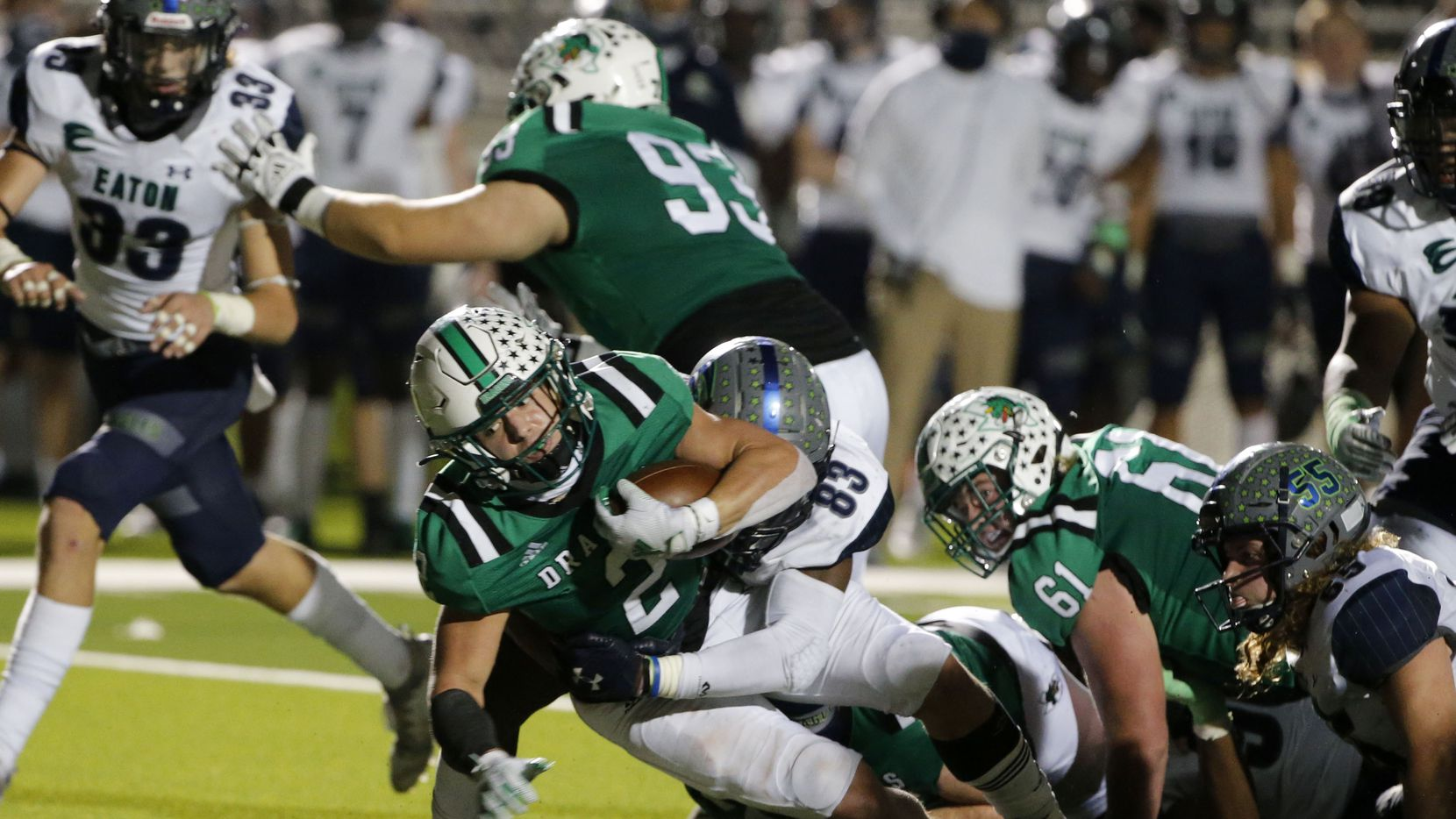 Southlake's Owen Allen (2) scores a rushing touchdown against Eaton during their high school football game on Nov. 20, 2020.
