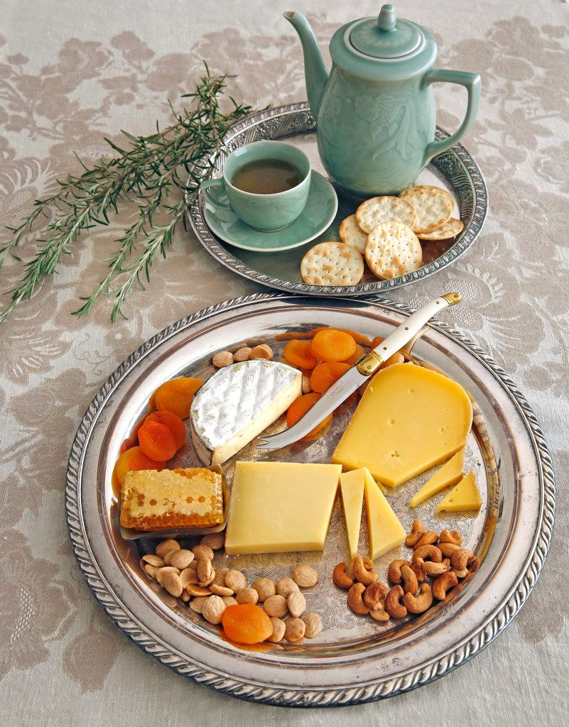 Cheese trays with hot tea