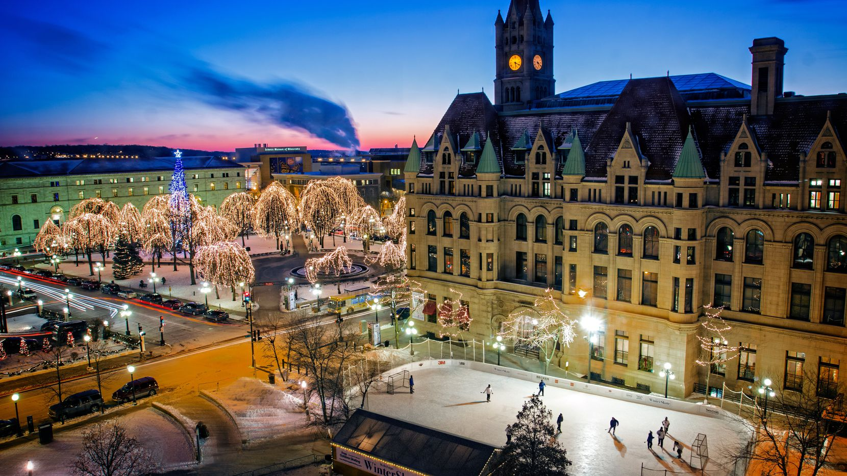 In winter, Downtown St. Paul's Rice Park becomes a twinkly, magical wonderland and hosts the popular Winter Carnival.