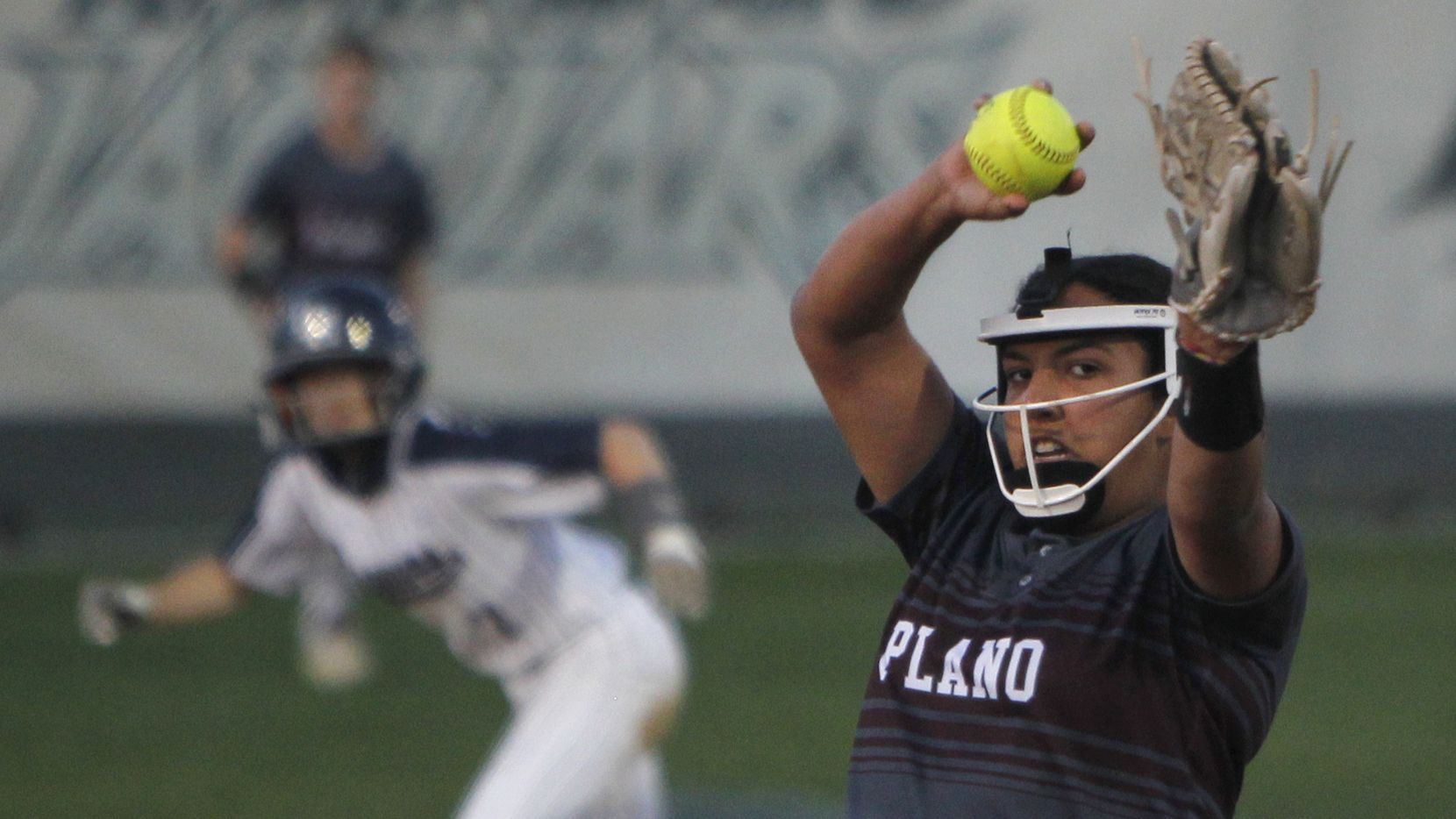 Plano pitcher Jayden Bluitt delivers a pitch to a Flower Mound batter during the bottom of the second. The two teams played their District 6-6A softball game at Flower Mound High School in Flower Mound on March 23, 2021.