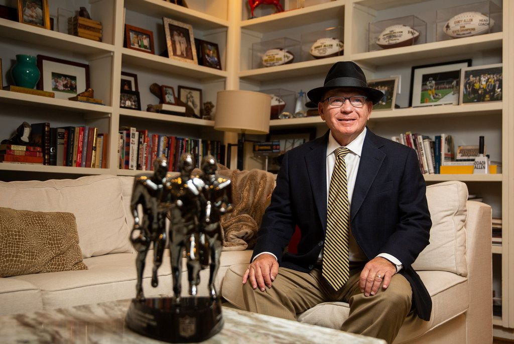 Highland Park football coach Randy Allen poses for portraits with his Don Shula NFL High School Coach of the Year Award in his Highland Park home on Nov. 9, 2019 in Dallas. Highland Park beat Lancaster 42-35 in overtime on Nov. 1 for Allen's 400th career win.