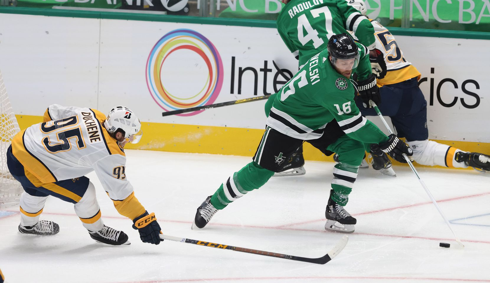 Dallas Stars center Joe Pavelski (16) attempts to get around the reach of Nashville Predators center Matt Duchene (95) during the first period of play in the Stars home opener at American Airlines Center on Friday, January 22, 2021in Dallas. (Vernon Bryant/The Dallas Morning News)