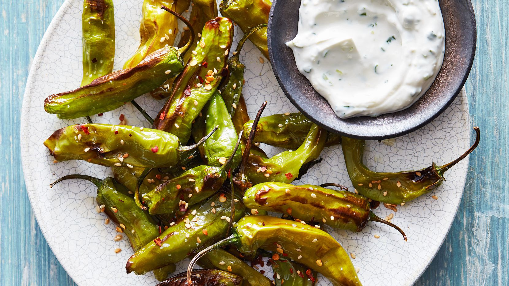 Blistered Shishito Peppers is a great air fryer recipe from AIR FRYER REVOLUTION: 100 Crispy, Healthy, Fast & Fresh Recipes by Urvashi Pitre.