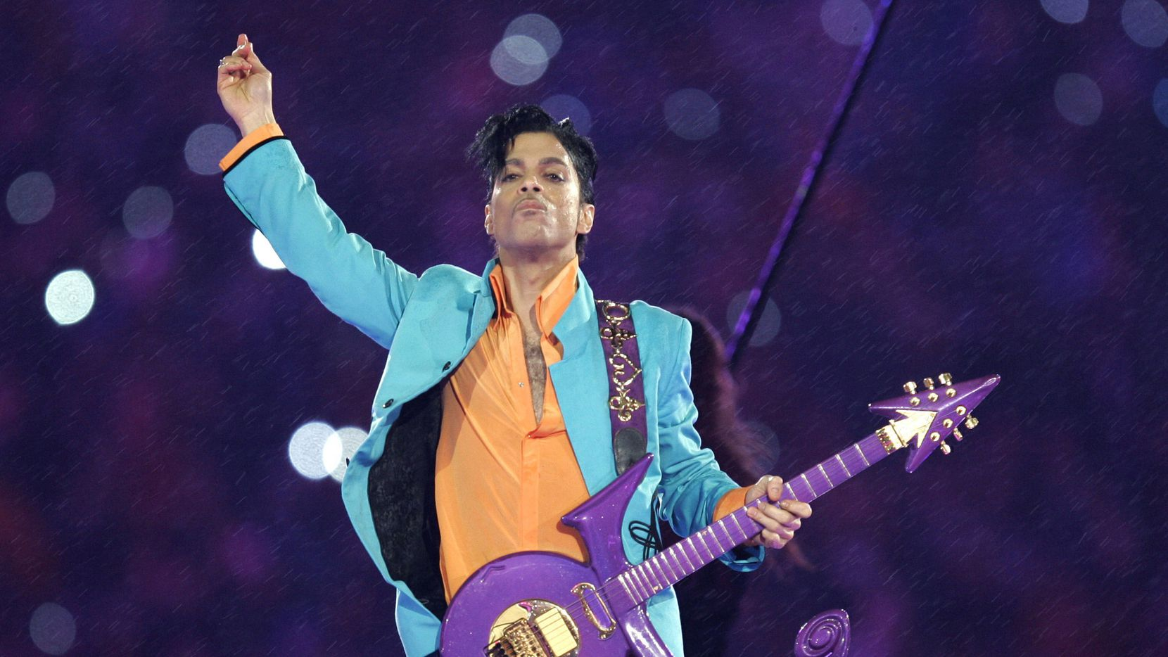 Prince performed in the halftime show at Super Bowl XLI in Miami in 2007.