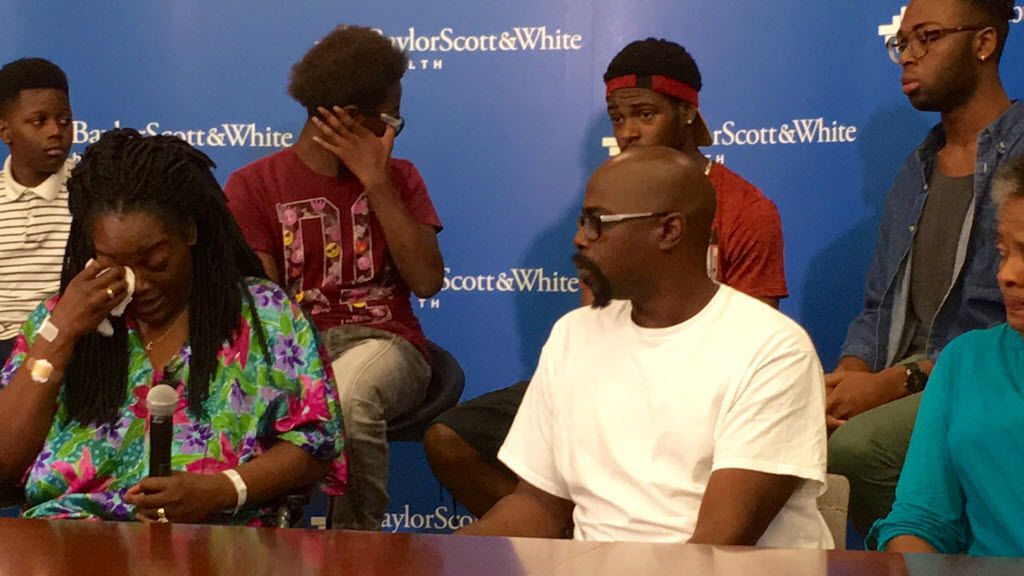 Shetamia Taylor was shot during the downtown Dallas ambush July 7, 2016. She and her family spoke to the media at Baylor Scott & White in Dallas on Sunday July 10, 2016.