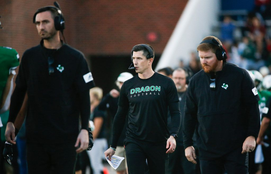 Southlake Carroll head coach Riley Dodge, center, works the sideline during the second half of a Class 6A Division I Region I high school football matchup between Southlake Carroll and Duncanville on Saturday, Dec. 7, 2019 at McKinney ISD Stadium in McKinney, Texas. (Ryan Michalesko/The Dallas Morning News)