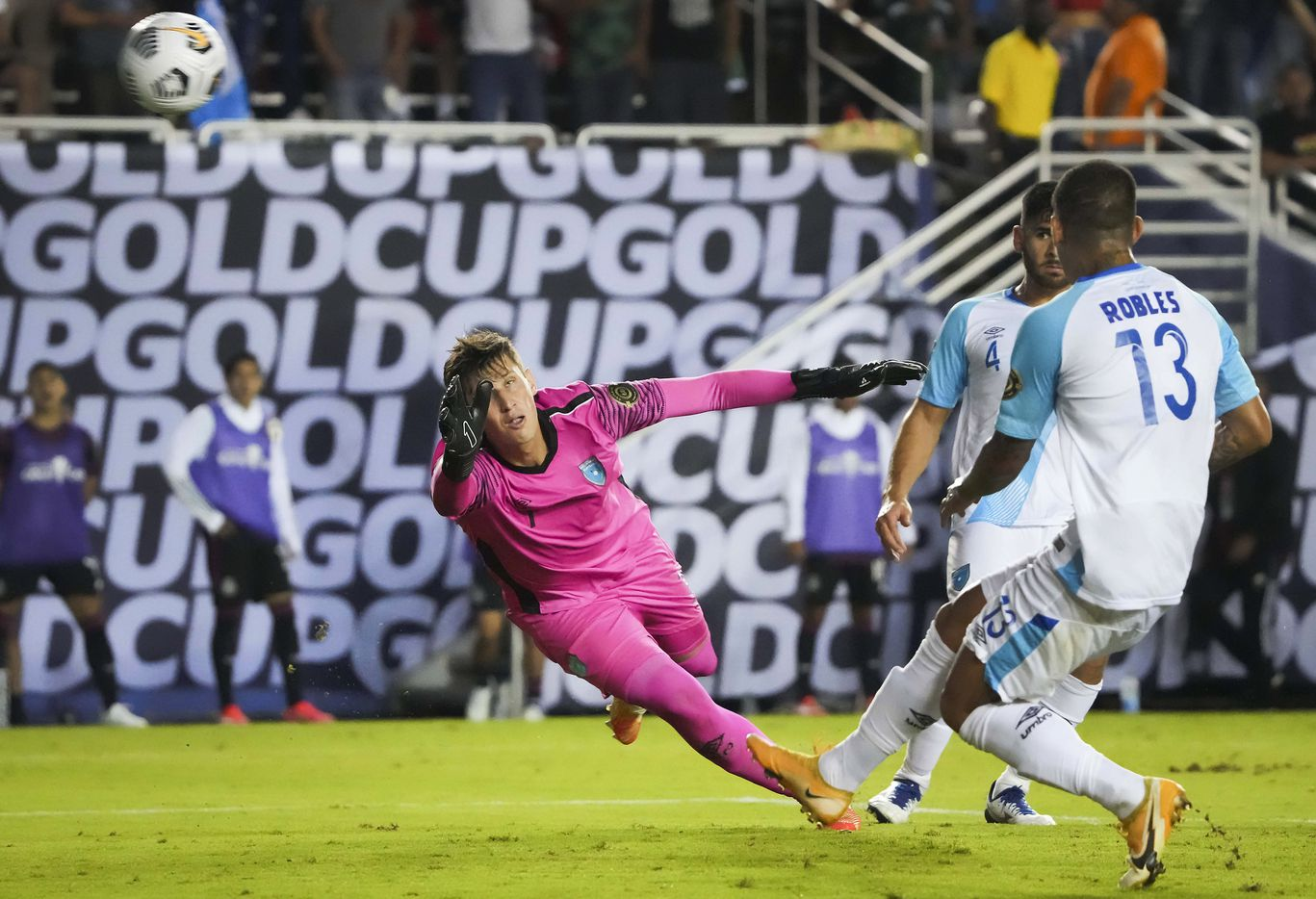 Guatemala goalkeeper Nicholas Hagen (1) can't make the play on a goal by Mexico forward Rogelio Funes Mori during the second half of a CONCACAF Gold Cup Group A soccer match at the Cotton Bowl on Wednesday, July 14, 2021, in Dallas.