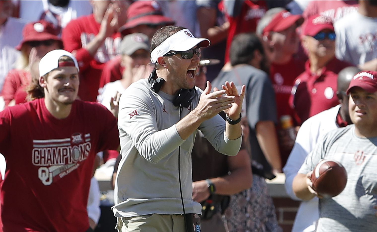 Oklahoma head coach Lincoln Riley celebrates after a blocked West Virginia kick during the second half of an NCAA college football game in Norman, Okla., Saturday, Oct. 19, 2019. Oklahoma won 52-14.
