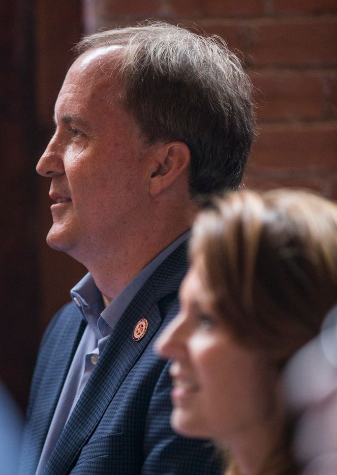 Attorney General Ken Paxton prepares to speak at a Collin County Republican Party event Monday, September, 3, 2018 in McKinney, Texas.