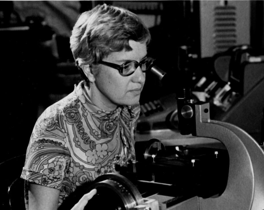 """This image obtained Decemer 27, 2016 courtesy of Courtesy of the Carnegie Institution of Washington in Washington, DC shows astrophysicist Vera Rubin measuring a galaxy optical spectra using two dimensional measuring engine and was taken in the early 1970s.  Groundbreaking astrophysicist Vera Rubin, who confirmed that the bulk of the universe is made up of invisible dark matter, has died in Princeton, New Jersey aged 88. """"Vera Rubin was a national treasure as an accomplished astronomer and a wonderful role model for young scientists,"""" said Matthew Scott, president of the Carnegie Institution for Science."""