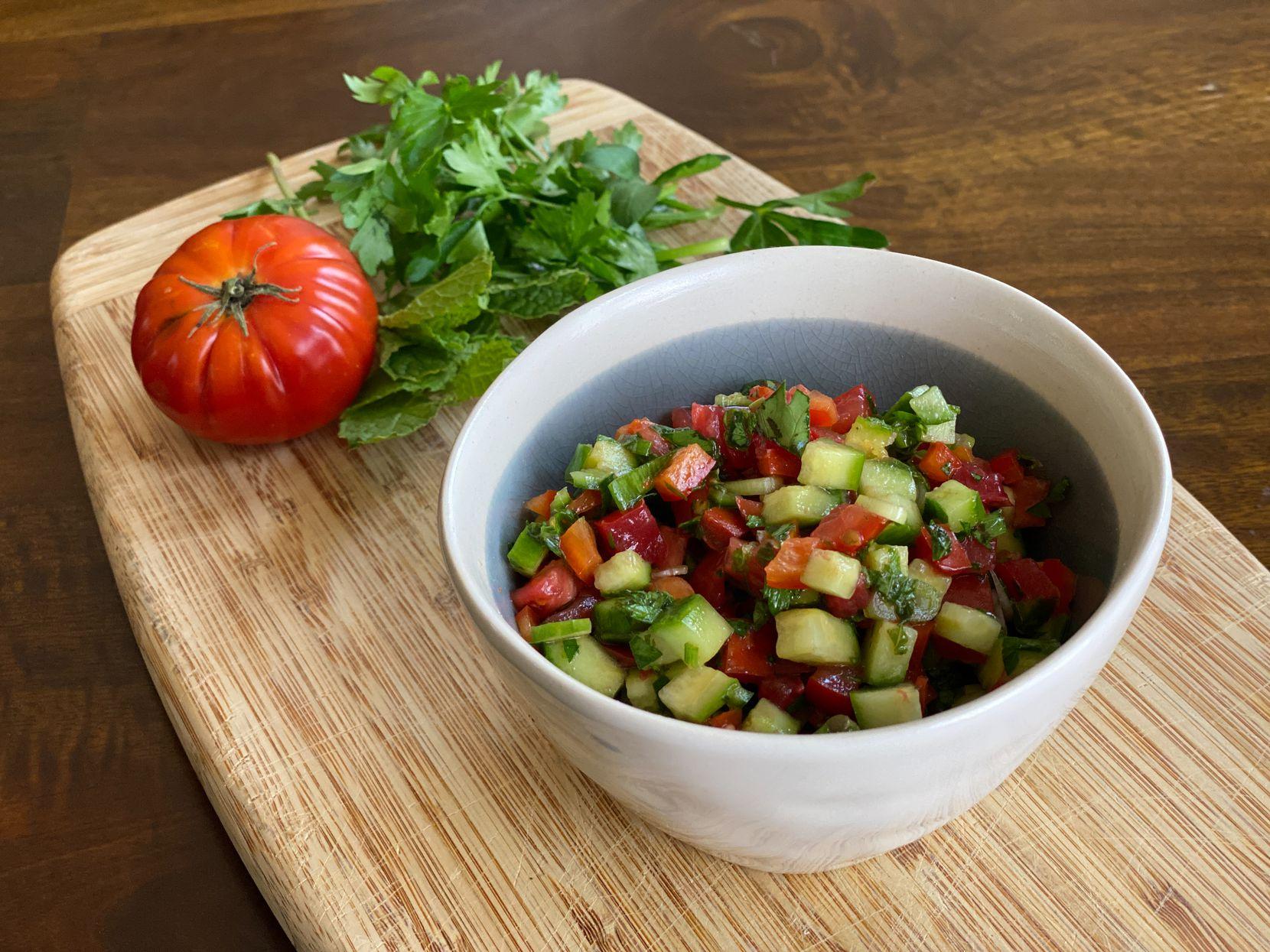 Palestinian Chopped Salad (Salata Arabieh)