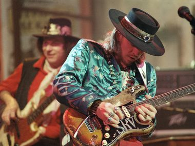 """Legendary blues guitarist Stevie Ray Vaughan rehearsed with his band Double Trouble for a performance on """"Saturday Night Live"""" in New York in 1986. The six-time Grammy winner was killed in a helicopter crash in 1990 at the age of 35."""