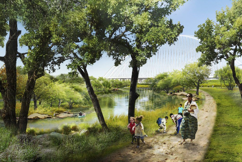 A digital, conceptual, rendering of the Trinity River Plan introduced May 20, 2016.