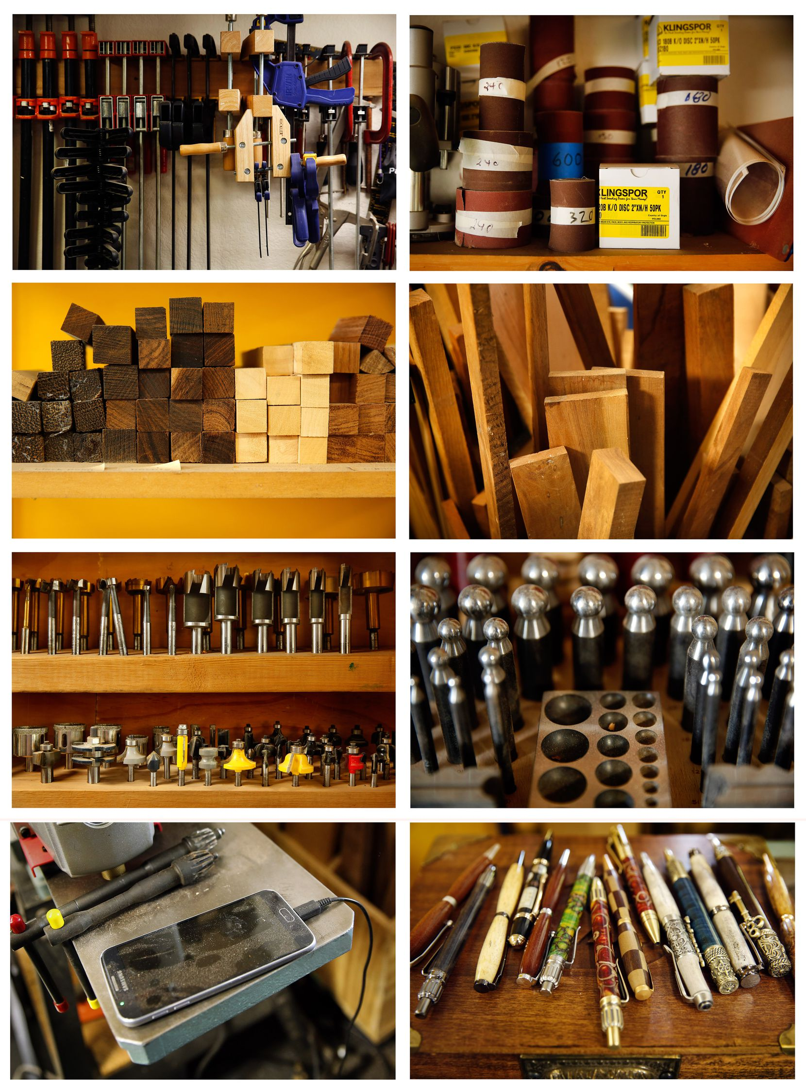 Pieces of Scott Rowe's woodworking shop are pictured clockwise from top left, at their southwest Fort Worth home, Thursday, May 14, 2020. A vast assortment of clamps; different grit numbered sandpapers; pieces of wood stacked in a bin; dapping punches and block used to make jewelry; assortment of handmade pens, some made from antlers; one of Scott's smartphones still charging in the shop; an assortment of routing bits; and short blocks of wood used to make wooden pens.  Scott suddenly had heart failure and his wife Lisa Rowe couldn't see him after the paramedics took him away. He died shortly afterward. Everything in his shop is as neatly organized as it was before he died. (Tom Fox/The Dallas Morning News)