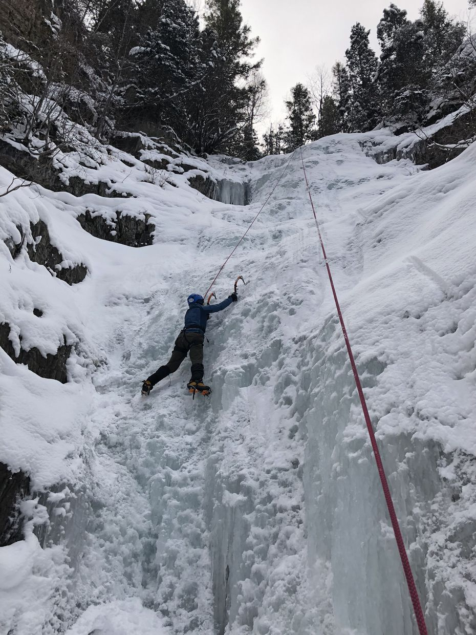Among the activities for adventure-seekers in Telluride: climbing a frozen waterfall.