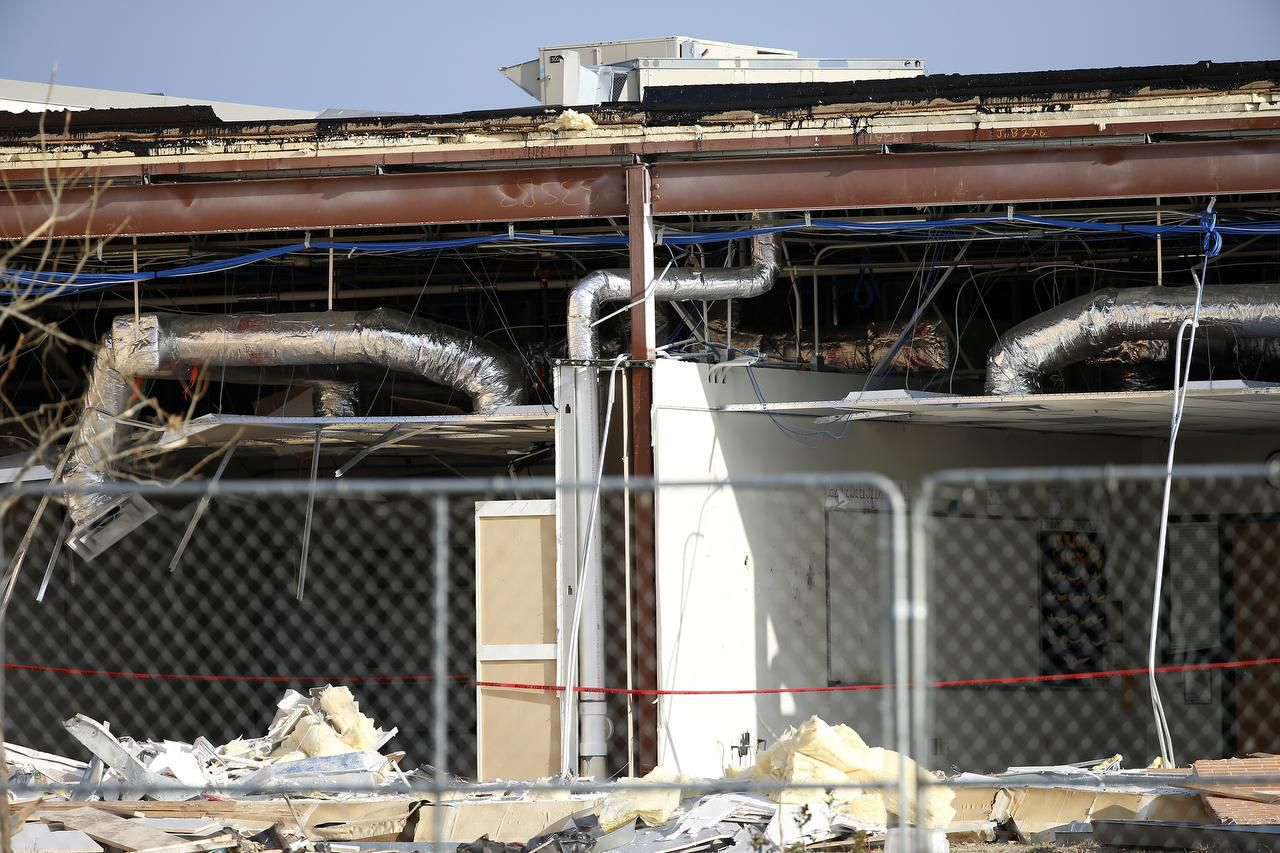 This photo shows where an exterior wall that may have been poorly attached fell down at Donald T. Shields Elementary in Glenn Heights. The company that built the school said high winds during the recent tornadoes caused the damage.
