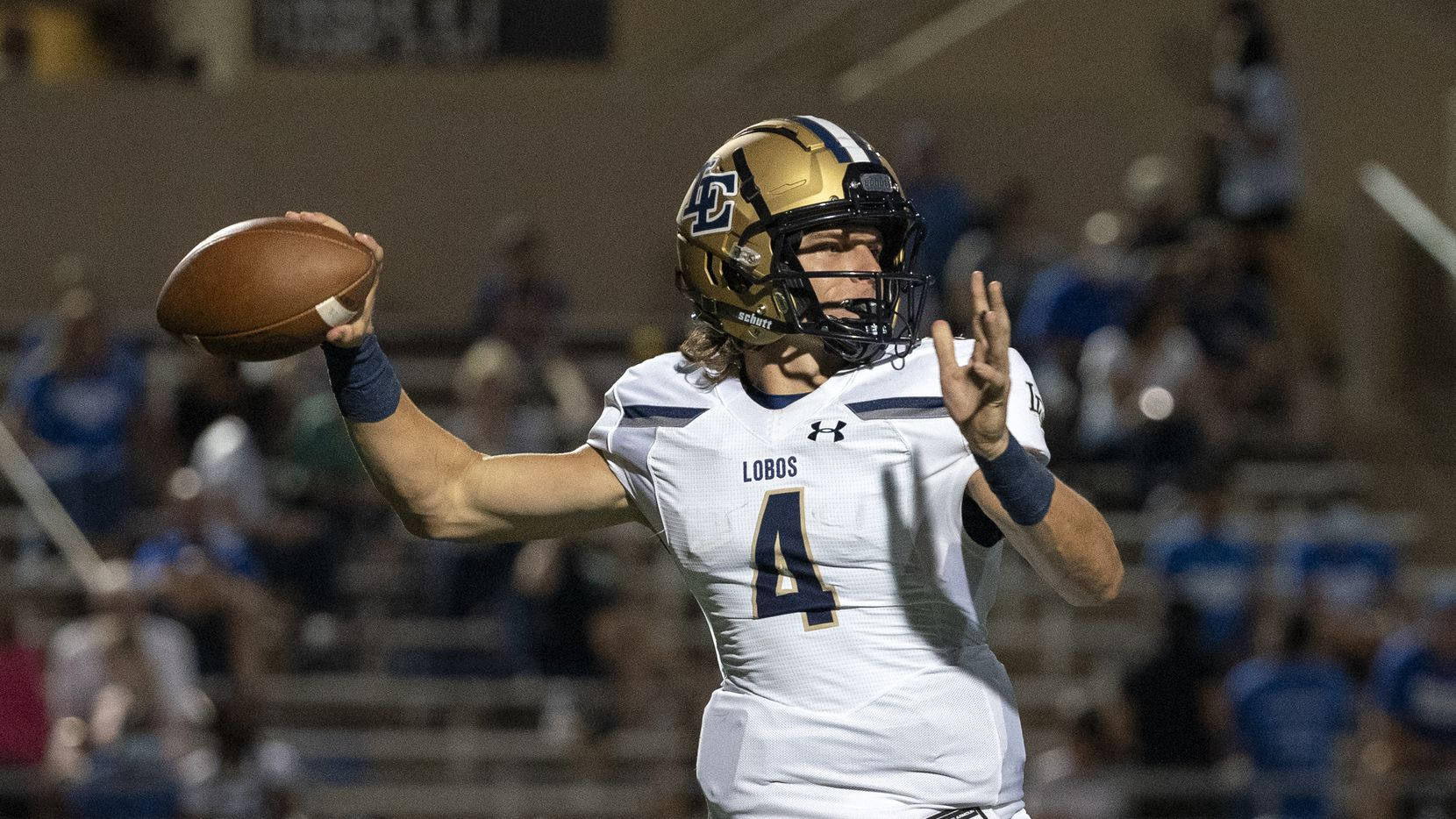 Little Elm senior quarterback John Mateer (4) throws a pass during the first half of a high school football game against Plano West on Friday, Sept. 10, 2021 at John Clark Stadium in Plano, Texas. (Jeffrey McWhorter/Special Contributor)