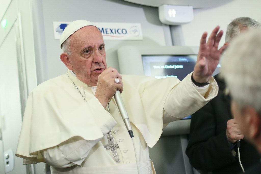 Pope Francis talked to journalists Thursday aboard a flight from Mexico to Italy. (Alessandro Di Meo/Agence France-Presse)