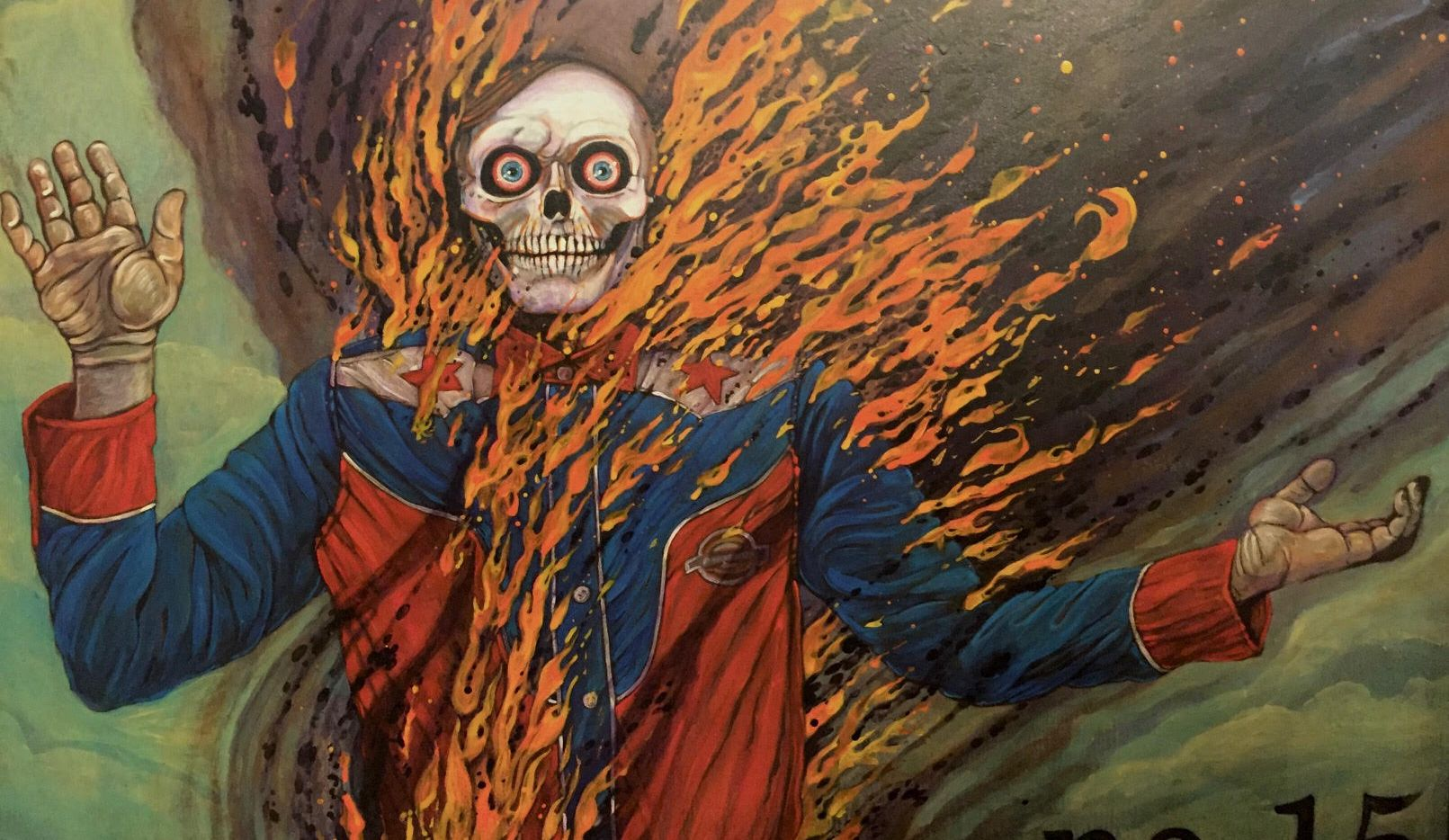 Dallas artist Brian K. Jones made this piece as part of a series of self-portraits as burning Big Tex.