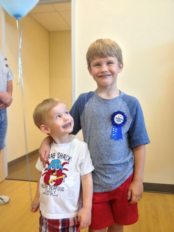 Noah Schoenfeld (left) and Charlie Schoenfeld on Charlie's seventh birthday