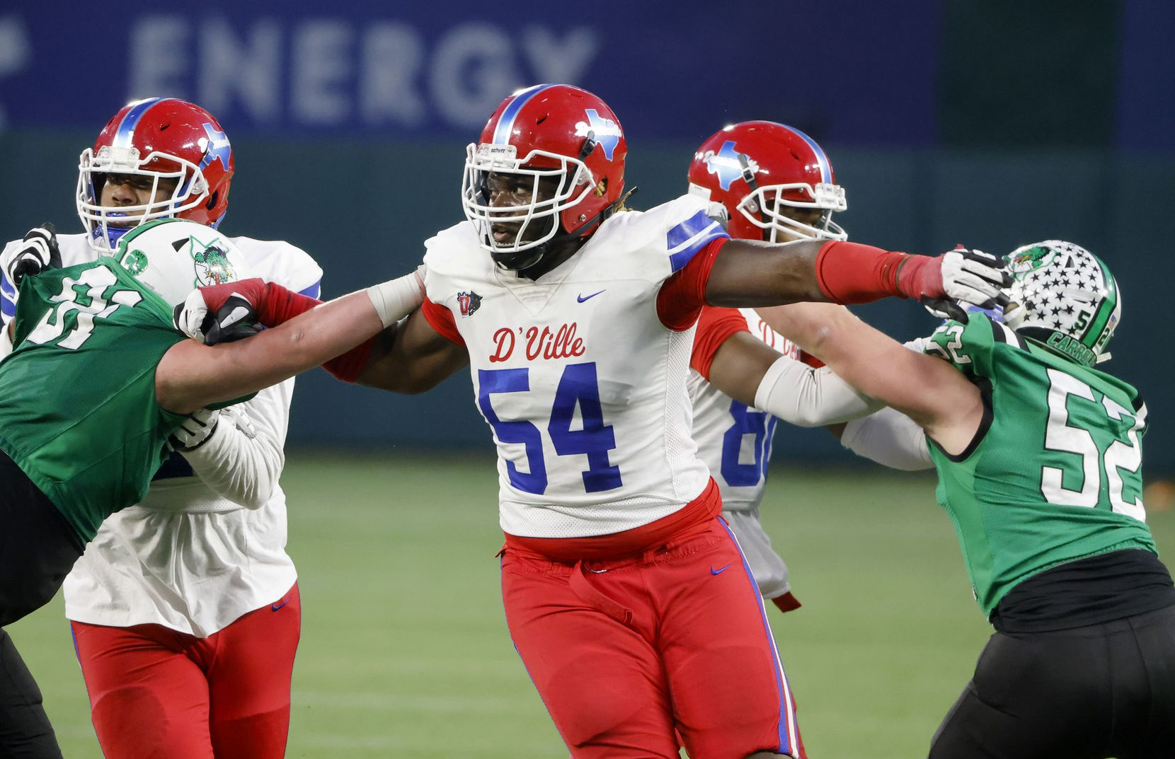Duncanville's Savion Byrd (54) tries to get past Southlake players during the Class 6A Division I state high school football semifinal in Arlington, Texas on Jan. 9, 2020. (Michael Ainsworth)